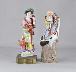 Chinese Large Polychrome Fairy and Longevity God