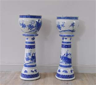 Japanese Large Pair Blue Planters