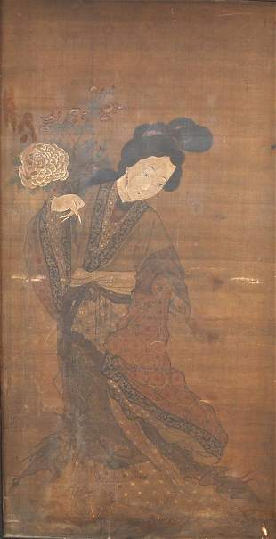Chinese Silk Painting Framed 1