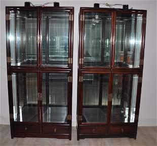 Chinese Large Pair Rosewood Display Shelf 1