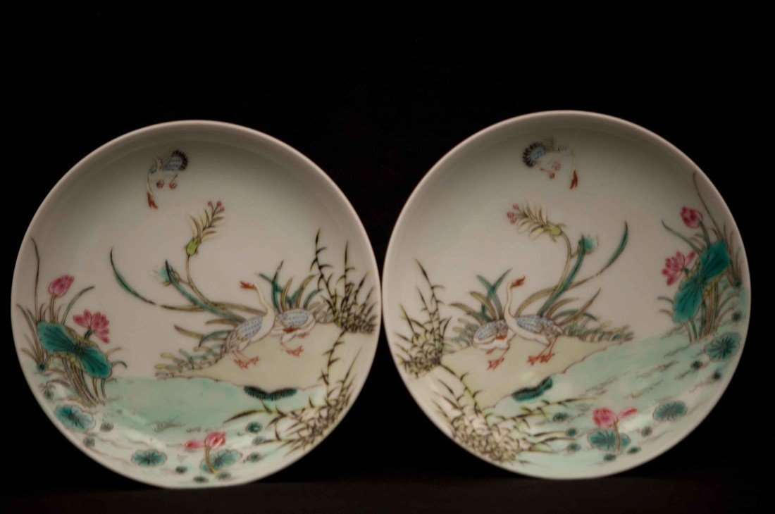 4: A Pair of Chinese Famille Rose Plates