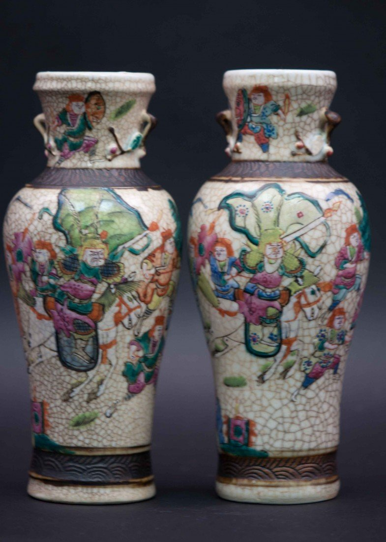 6: A Pair of Famille Rose Vases