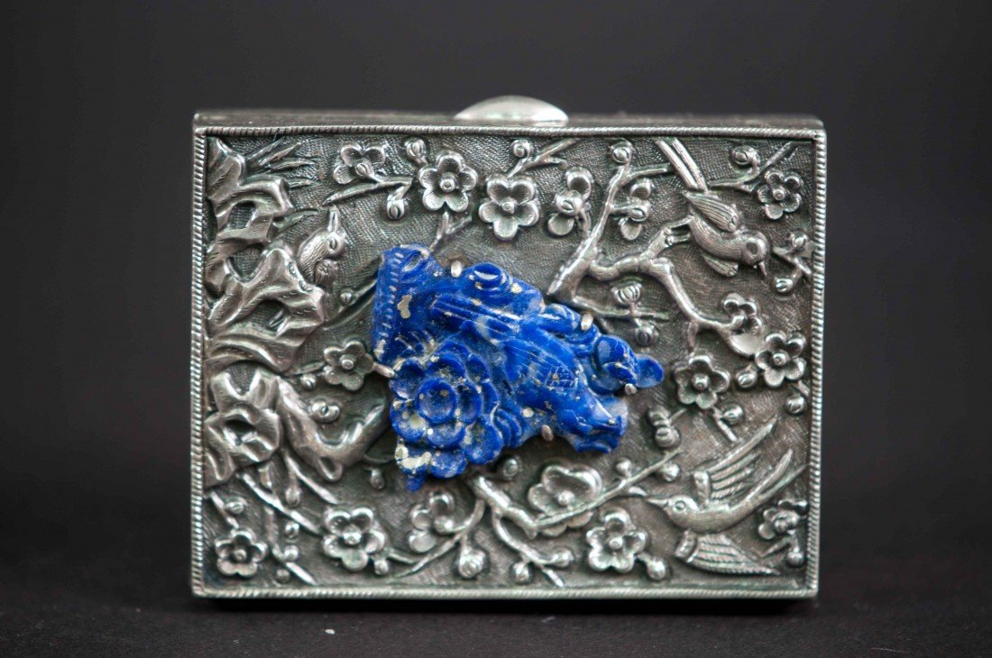 16: A Chinese Silver Box with Lapis Carving