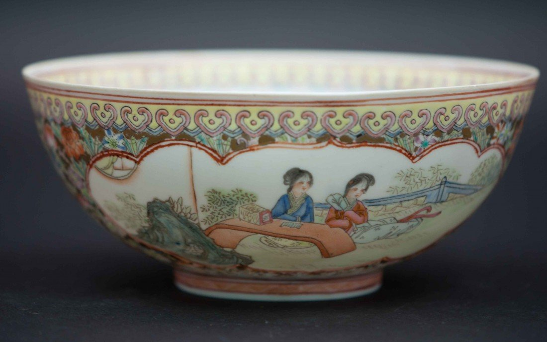 17: A Chinese Egg-shell Famille Rose Bowl