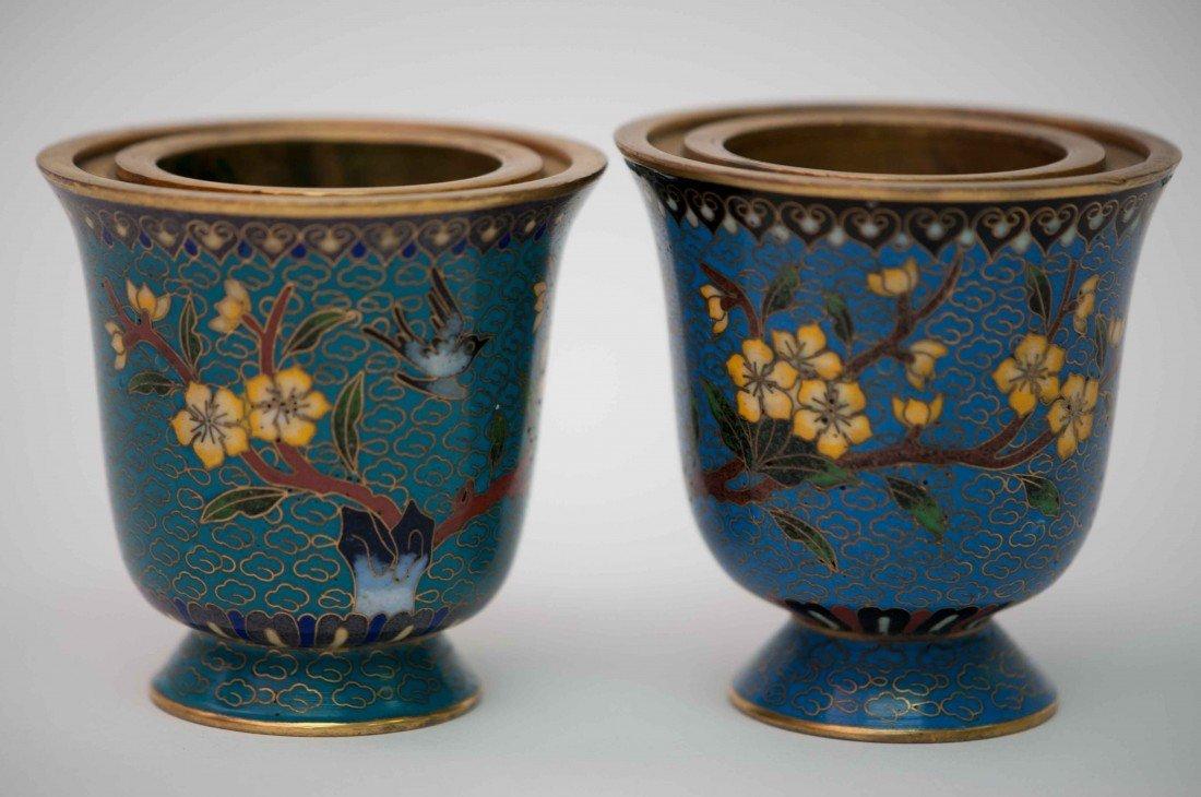 22: A Pair of Cloisonné Pots