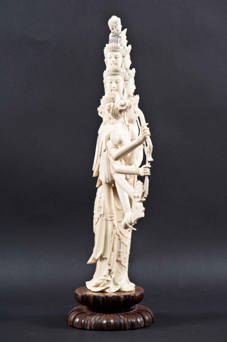 50: A Large Carved Chinese Ivory Thousand-hand Buddha - 10