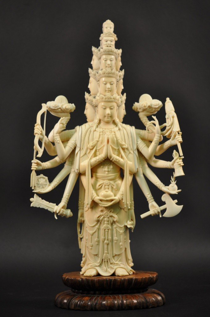 50: A Large Carved Chinese Ivory Thousand-hand Buddha