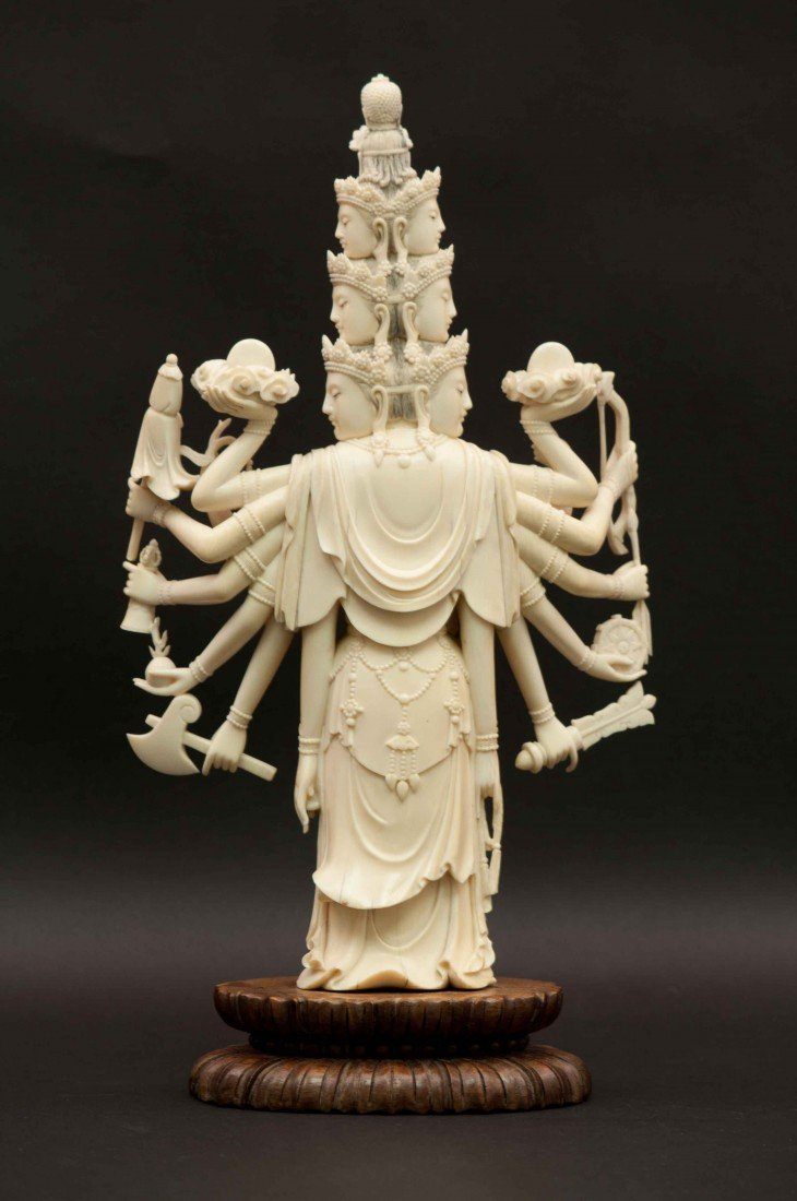 50: A Large Carved Chinese Ivory Thousand-hand Buddha - 2