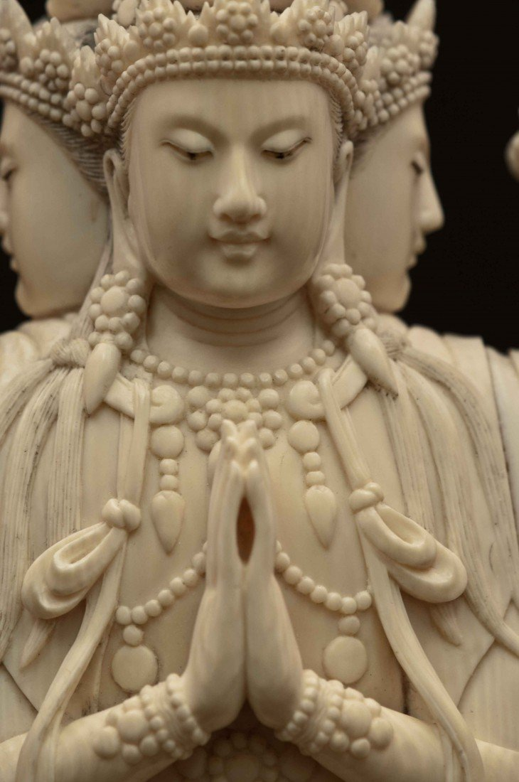 50: A Large Carved Chinese Ivory Thousand-hand Buddha - 3