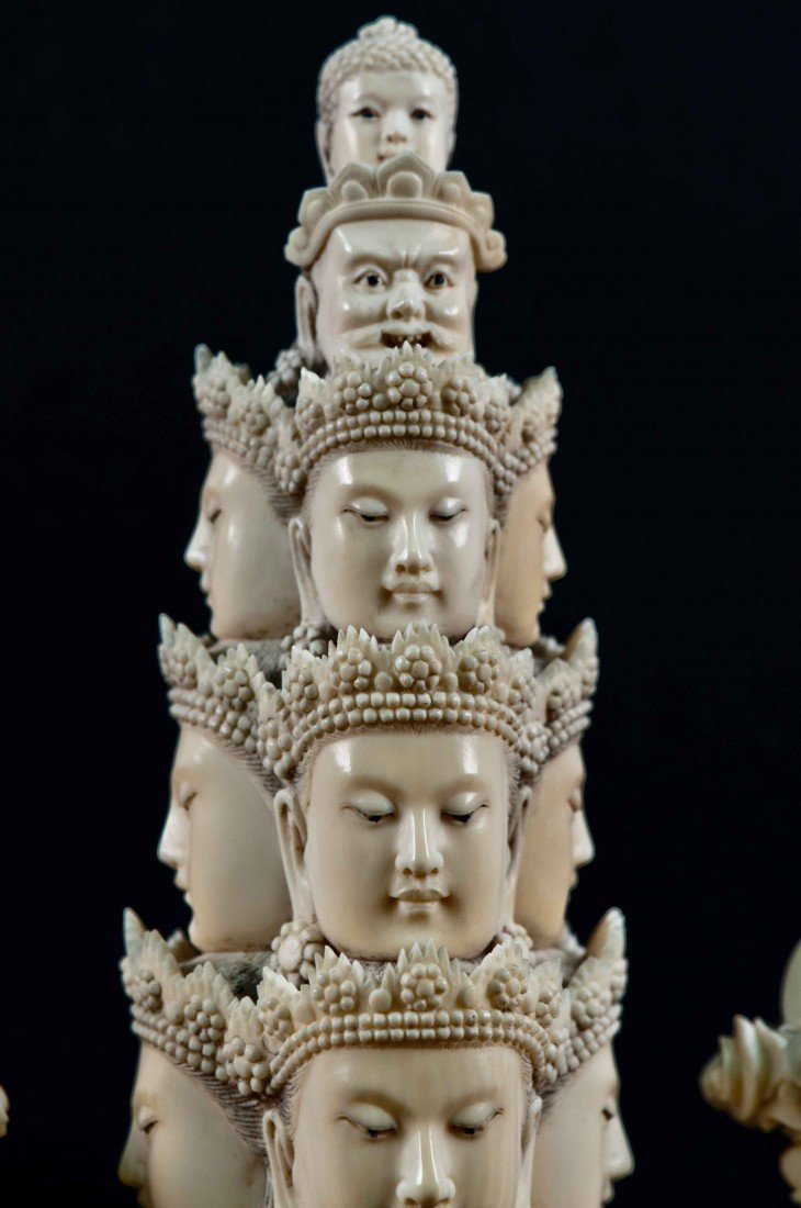 50: A Large Carved Chinese Ivory Thousand-hand Buddha - 4