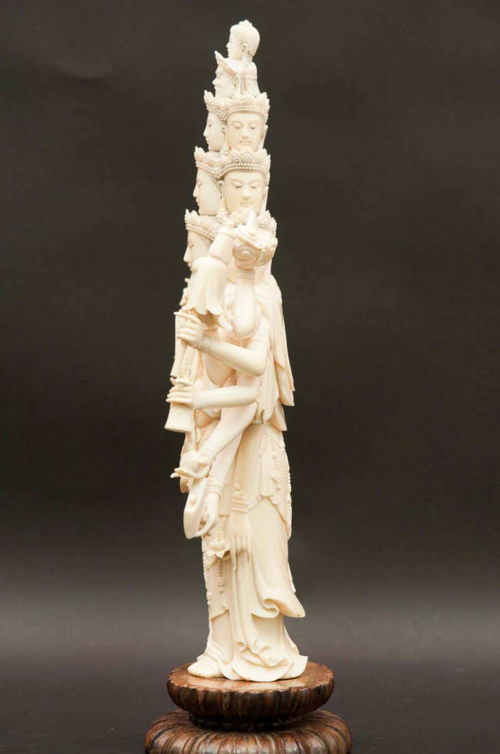 50: A Large Carved Chinese Ivory Thousand-hand Buddha - 7