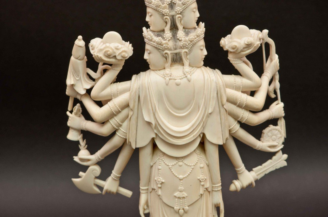 50: A Large Carved Chinese Ivory Thousand-hand Buddha - 8