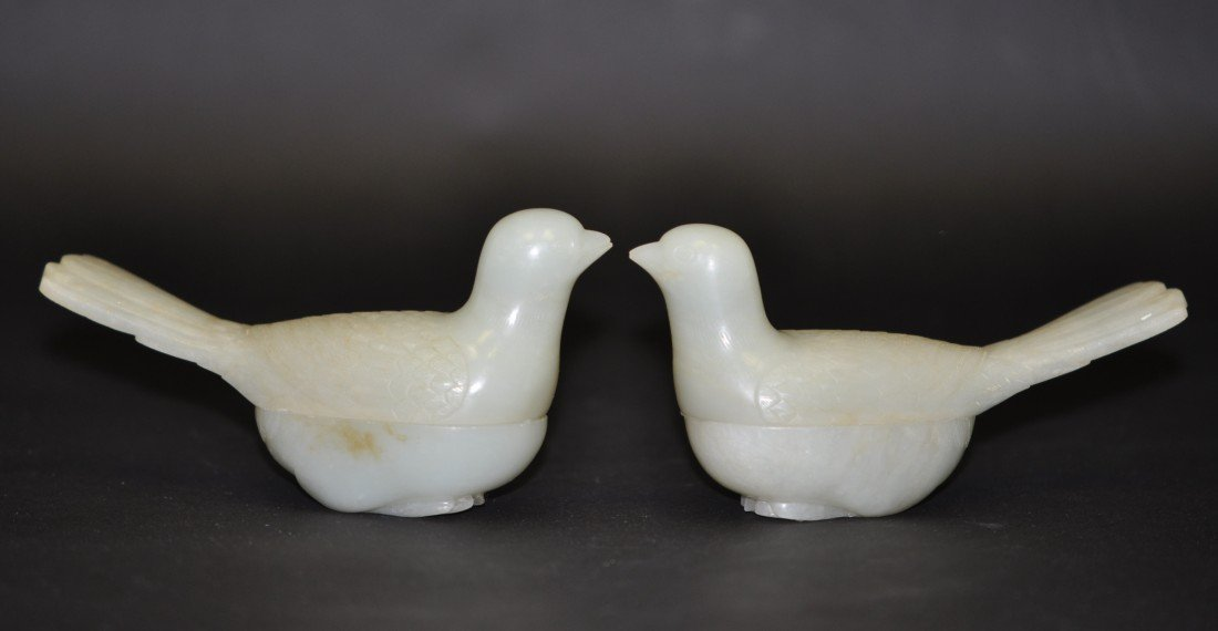 89: A Pair of White Nephrite Jade Bird-form Boxes