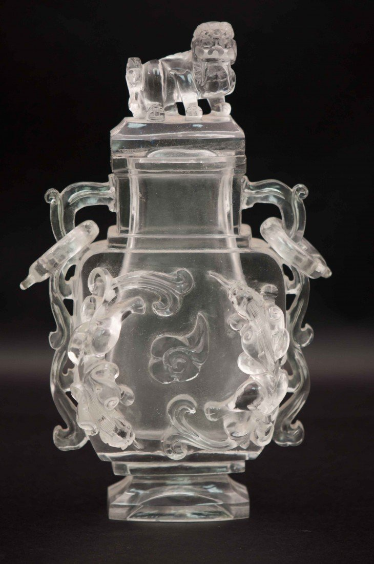 1: Chinese Clear Pekin Glass Lidded Vase