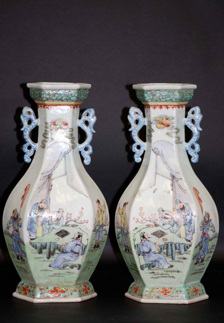 3: Chinese Pair of Hexagonal Famille Rose Vases