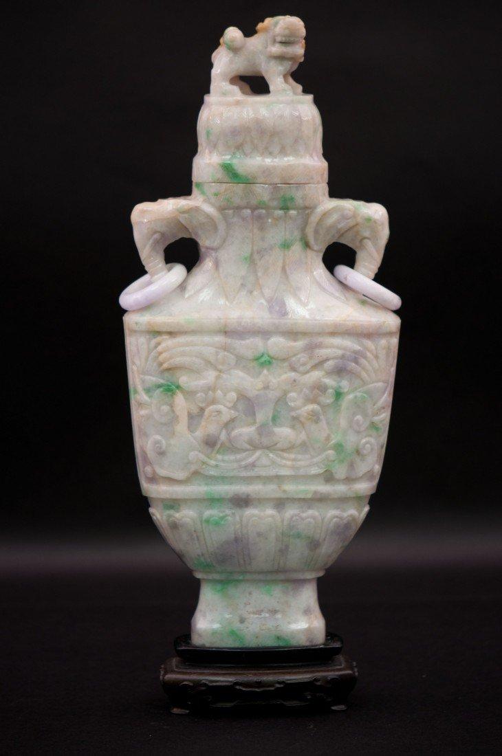 6: Chinese Jadeite Lidded Vase