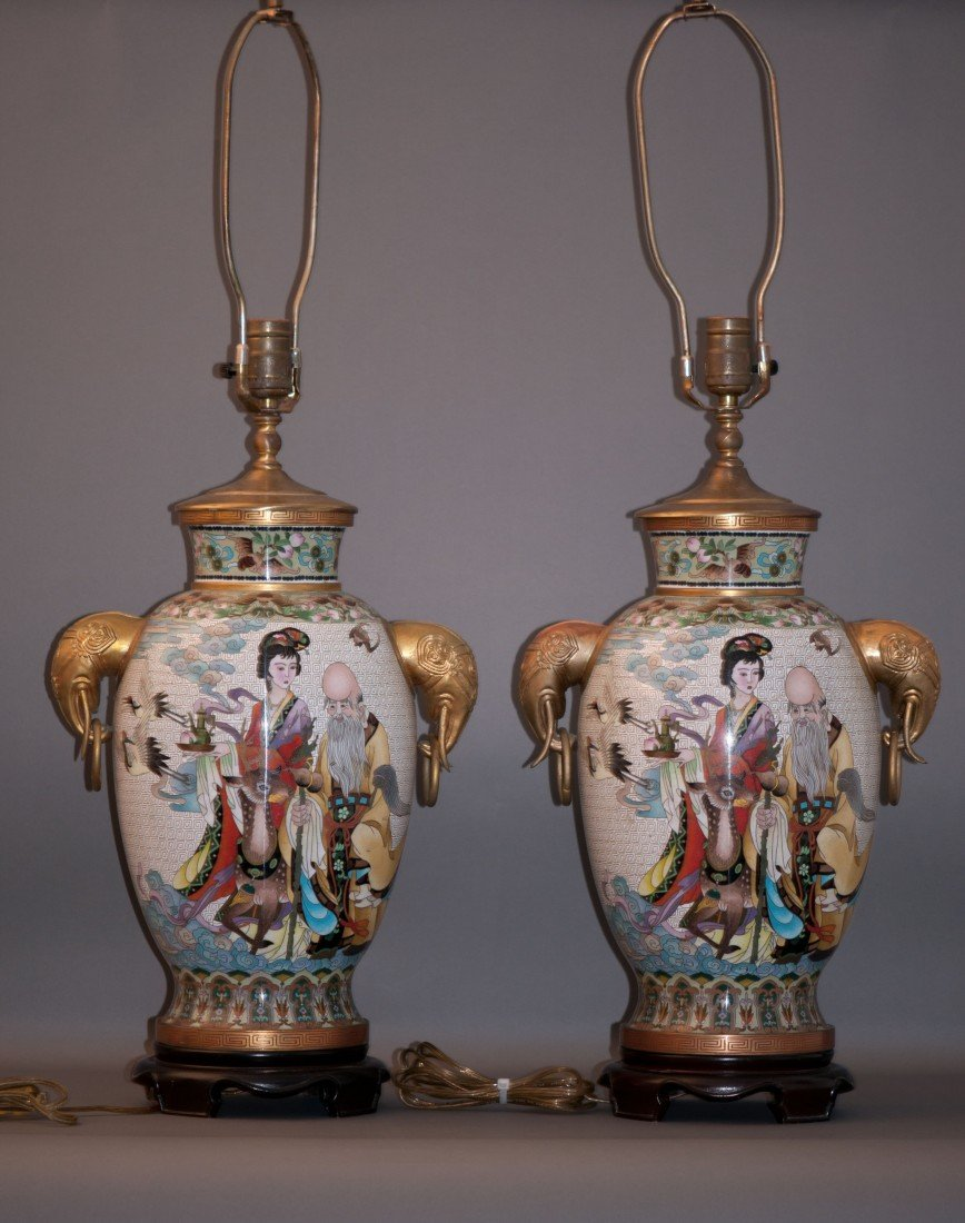 16: Chinese Pair Cloisonnee Vases Mounted in Lamps