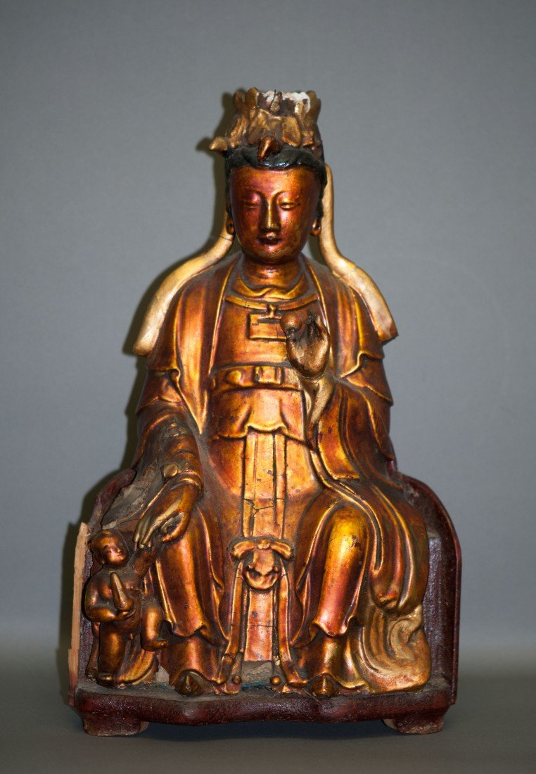 18: Chinese Old Gilded Wooden Kwan-Yin