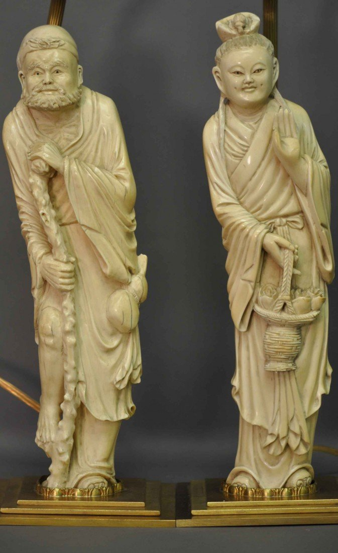 19: Pair of Chinese Ivory Immortals in Lamps