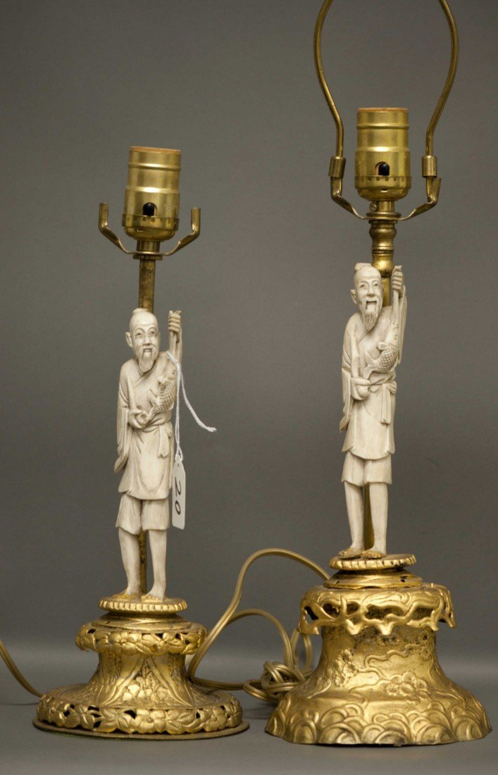 20: Chinese Pair Small Ivory Men in Lamps