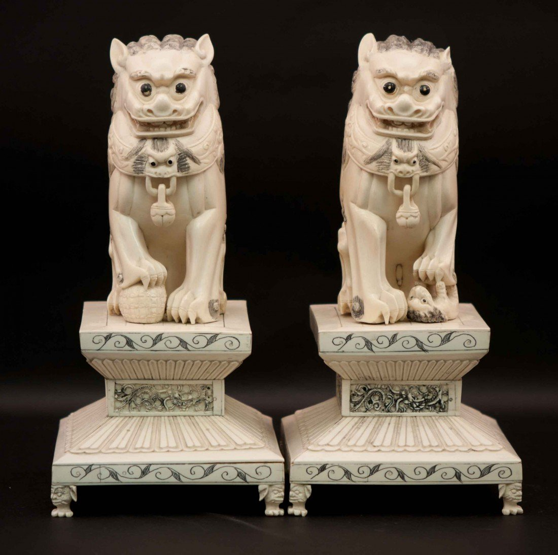 22: Chinese Pair of Ivory Foo Dogs