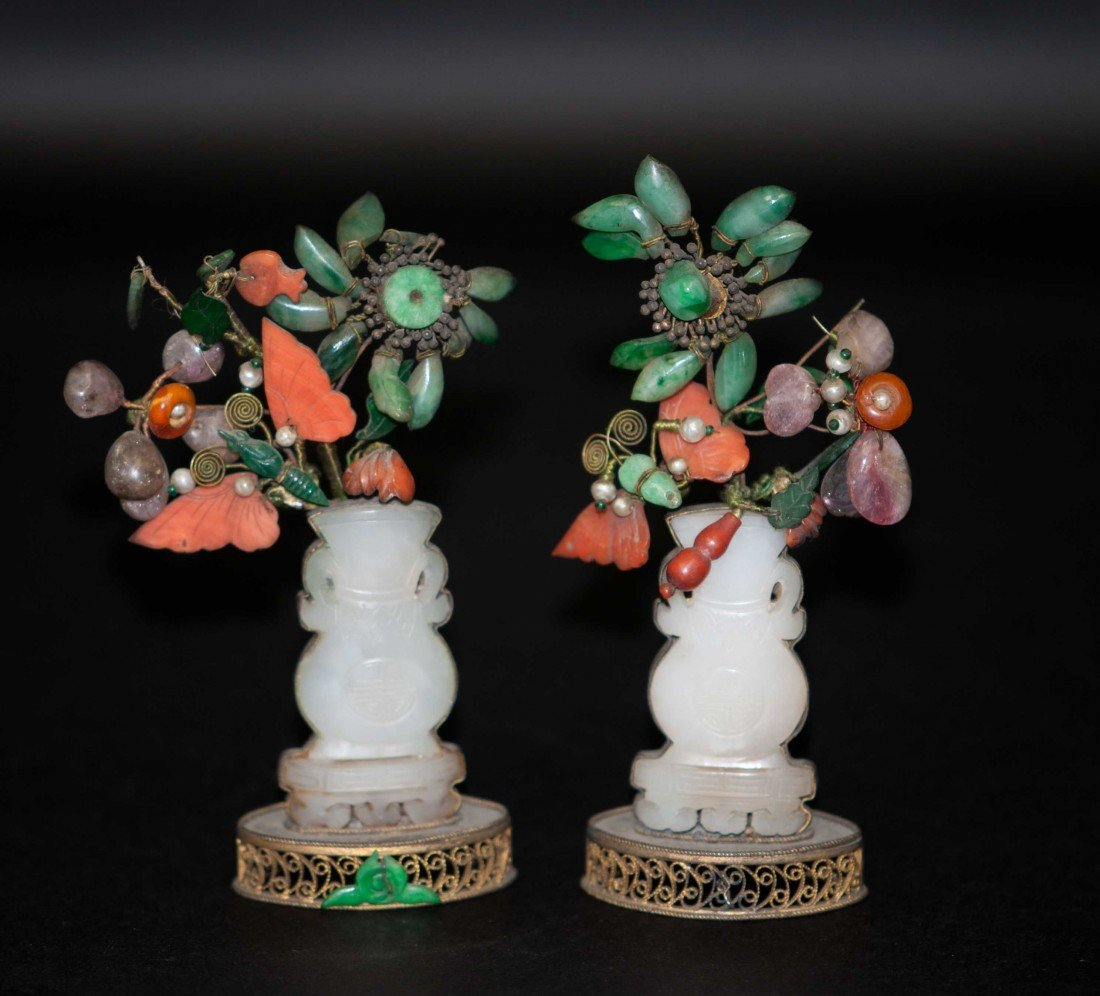 39: Chinese Gilt Jade Trees with Jadeites,pearl,corals