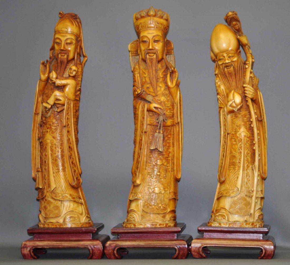 40: Extra Large Chinese Set of Large Ivory Three Wiseme