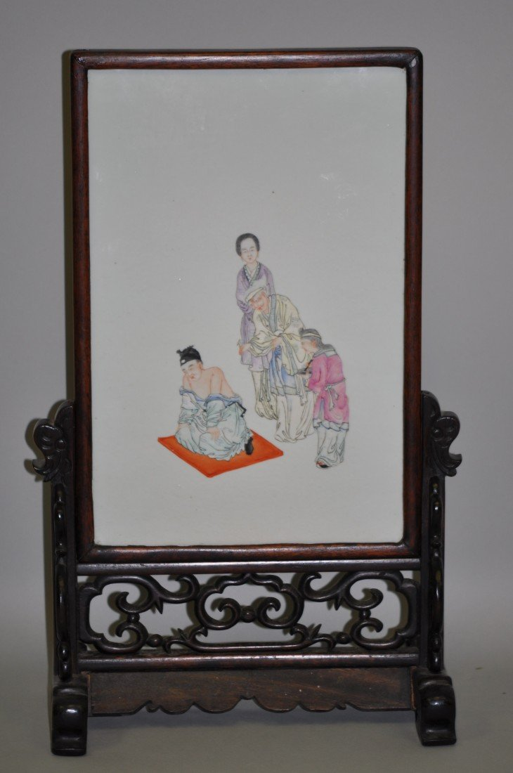 8: Chinese Famille Rose Porcelain Rosewood Plaque