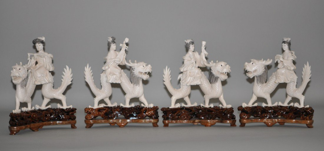 13: Chinese Set of 4 Ivory Fairies