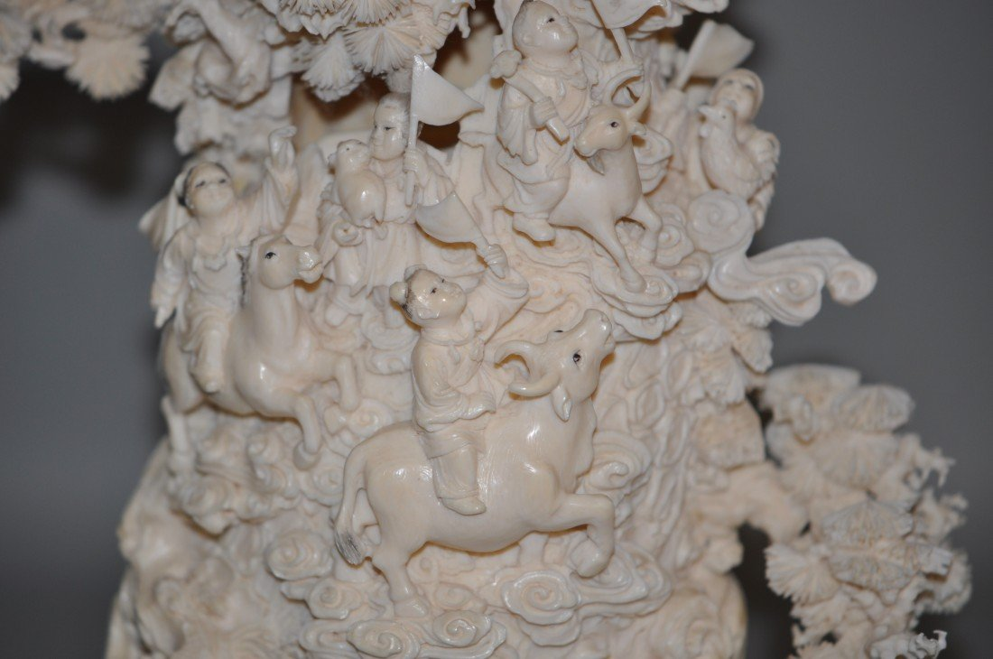 14: Chinese Ivory Heavenly Scenary Longivity God and Hu - 3