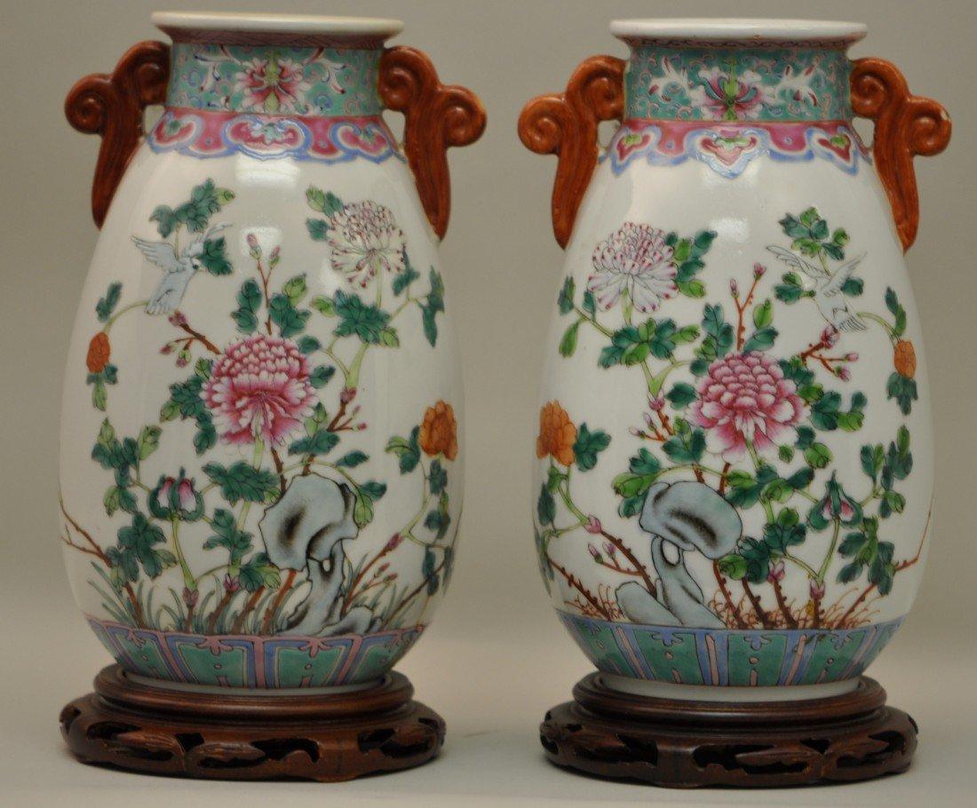 19: Chinese Pair of Famille Rose Flower Vases