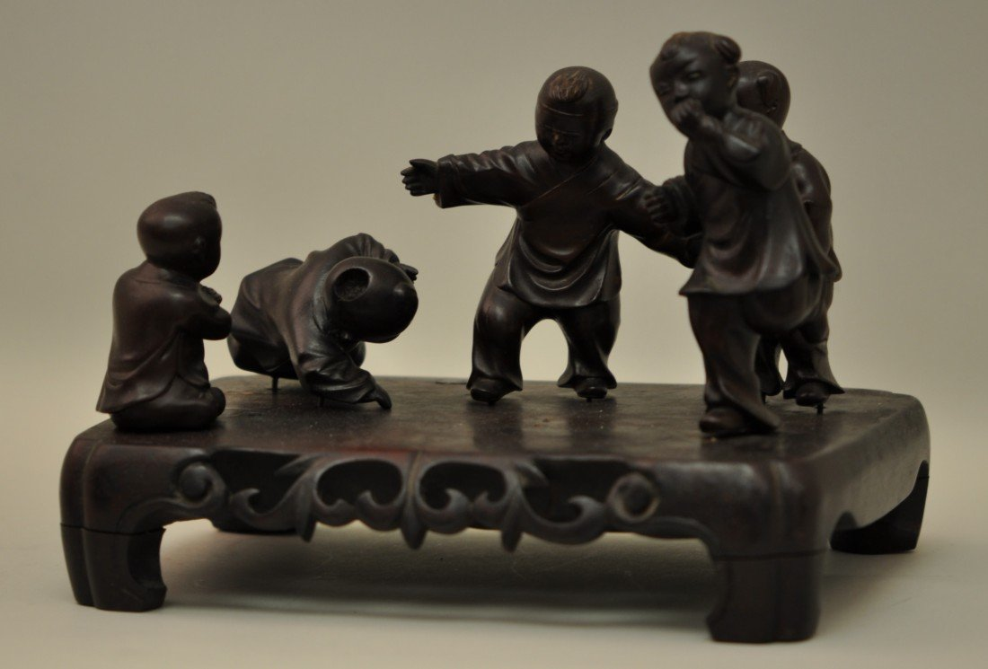 24: Chinese Rosewood Carving of Boys