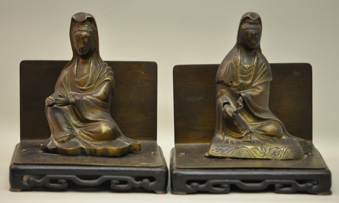 26: Chinese Pair of Bronze Kwan-yins on the Bood-ends