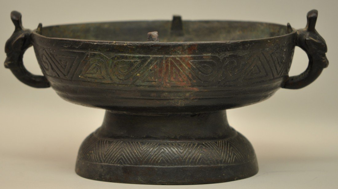 27: Chinese Bronze Oval Bowl