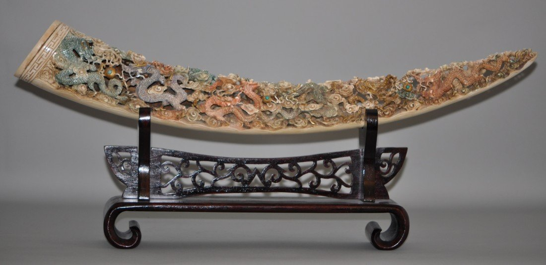 28: Chinese Polychrome Ivory Tusk in Dragons and Pearls