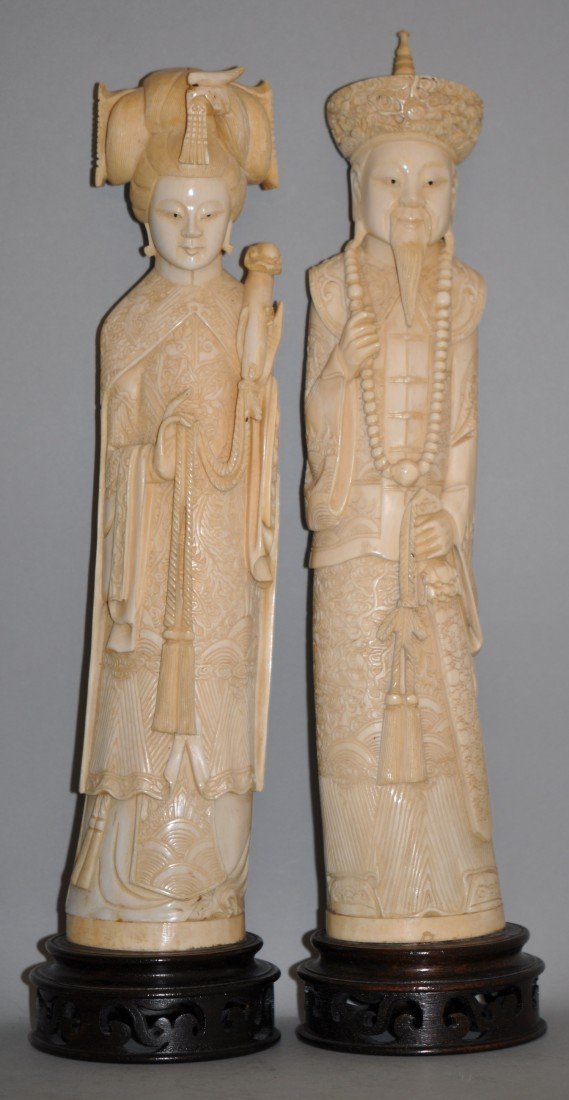 29: Chinese Large Ivory Emperor and Empress