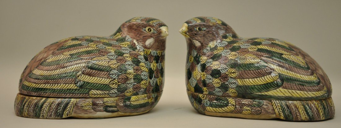 32: Chinese Pair of Colored Quails