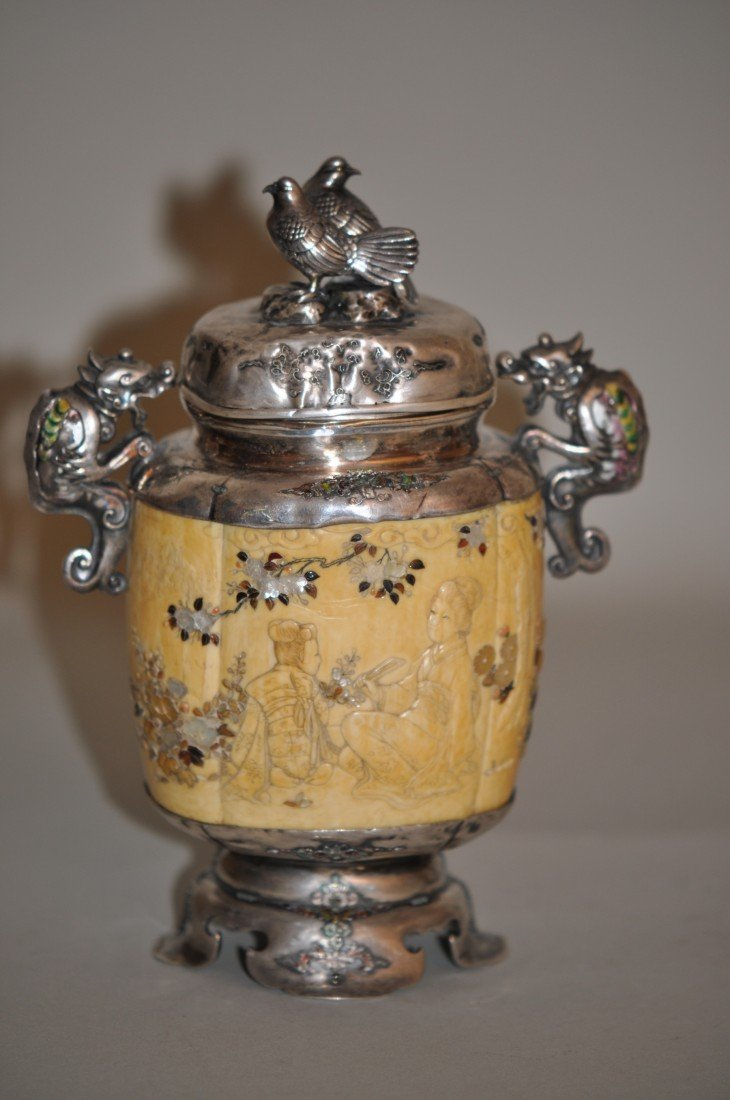 42: Japanese Silver Ivory Lidded Vase