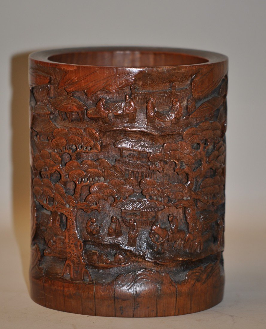 44: Chinese Carved Bamboo Brush Pot