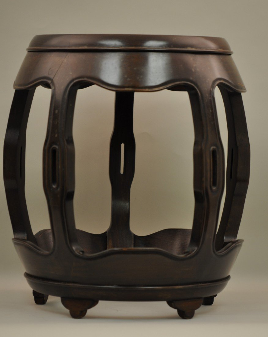 63: Chinese Hu-Form Stool in Rosewood and Burl wood