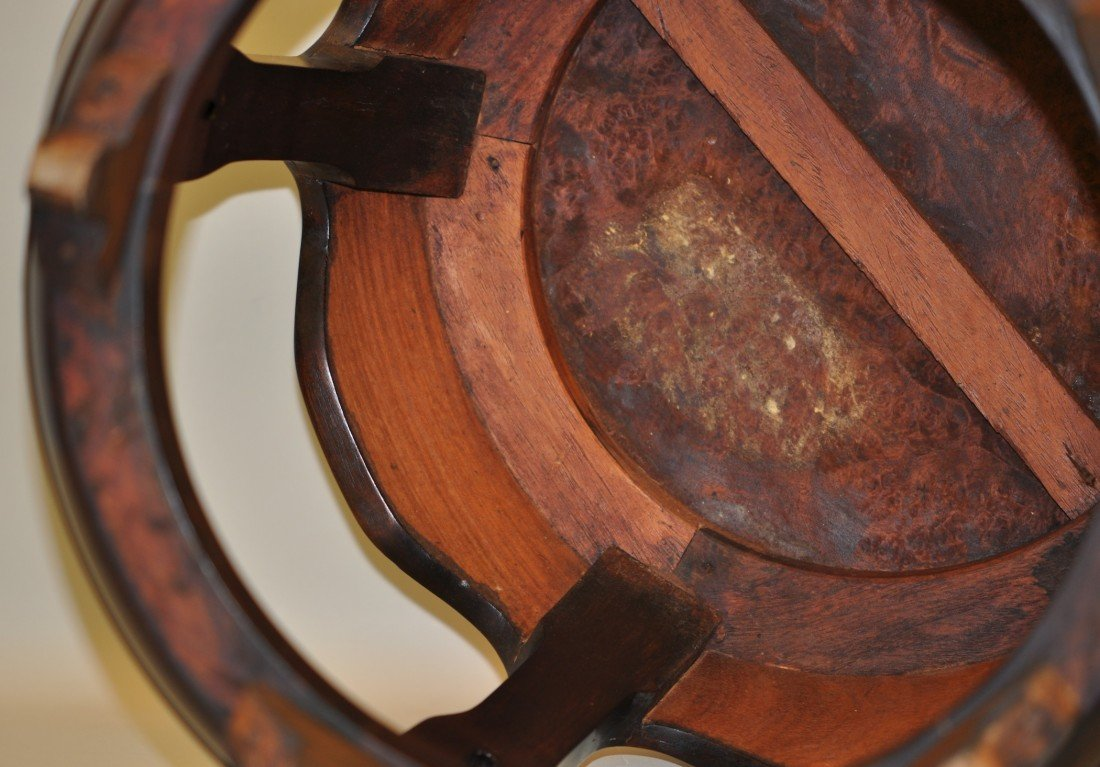 63: Chinese Hu-Form Stool in Rosewood and Burl wood - 3