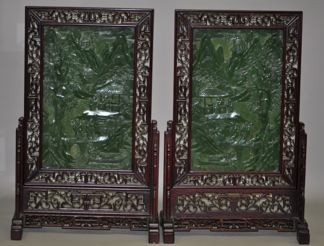 146: Chinese Pair of Extra-large Spinach Jade Floor Scr