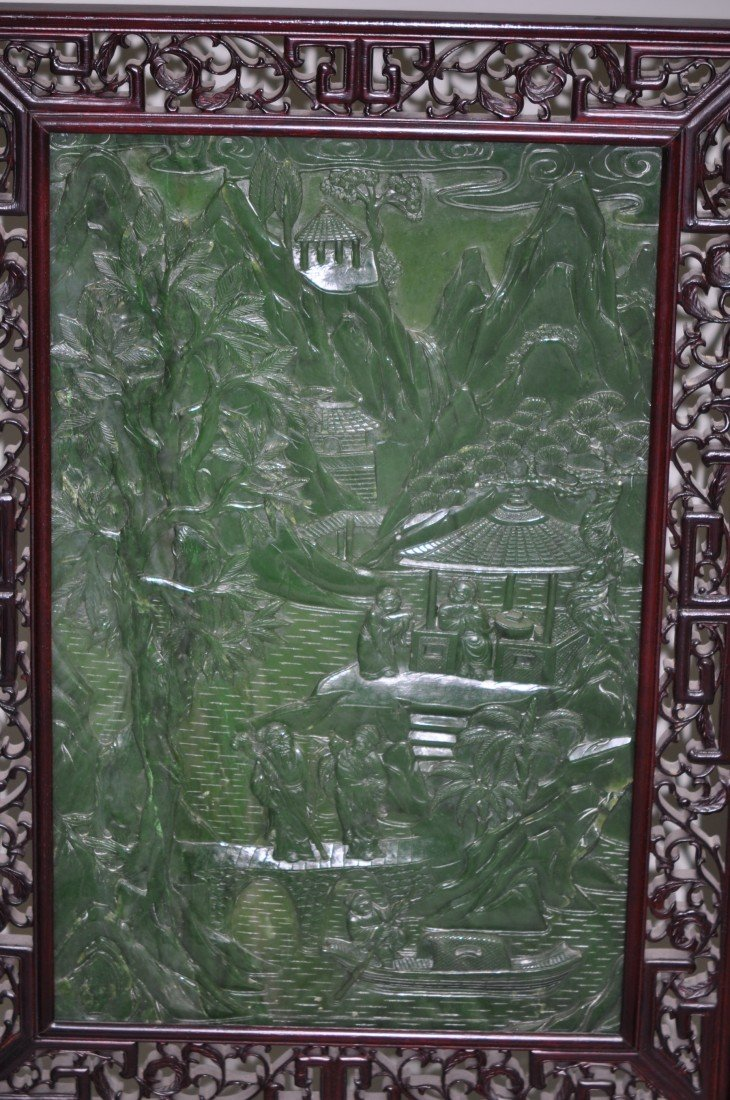 146: Chinese Pair of Extra-large Spinach Jade Floor Scr - 2