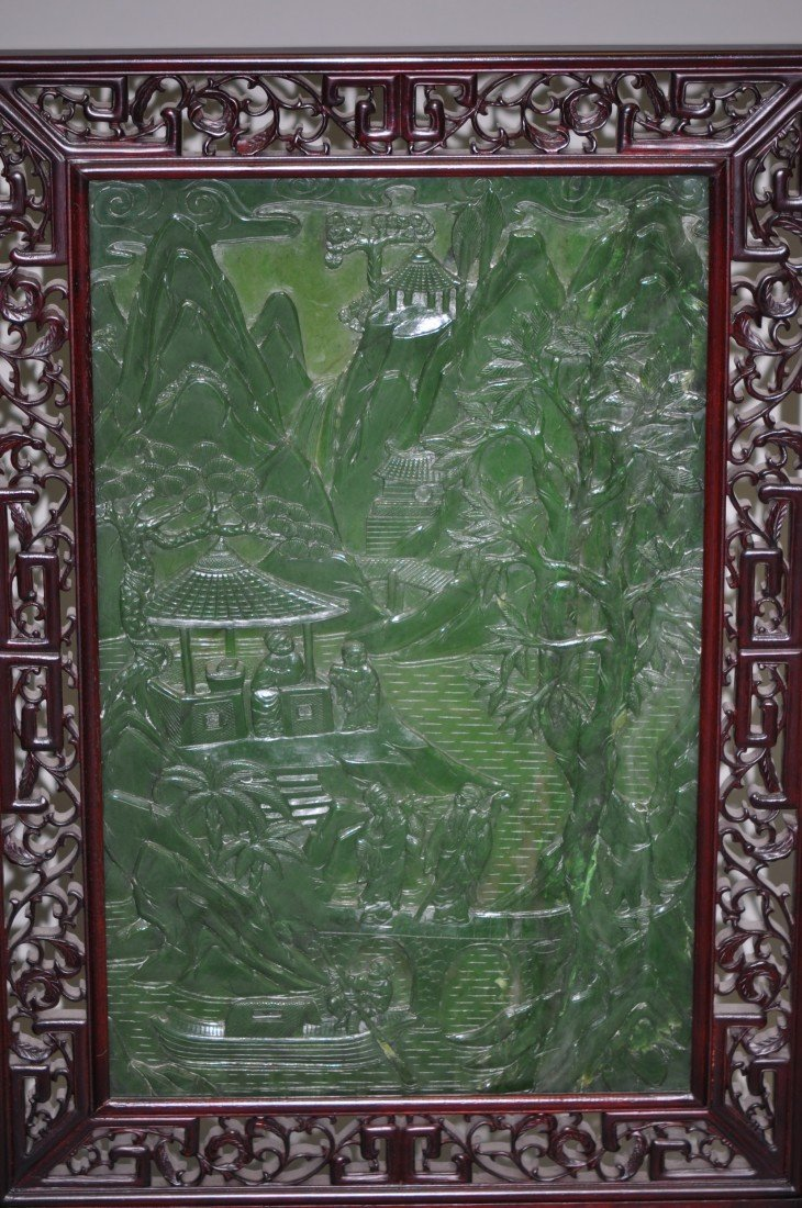 146: Chinese Pair of Extra-large Spinach Jade Floor Scr - 3