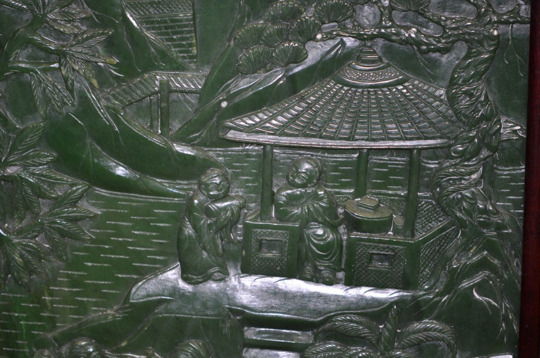 146: Chinese Pair of Extra-large Spinach Jade Floor Scr - 5