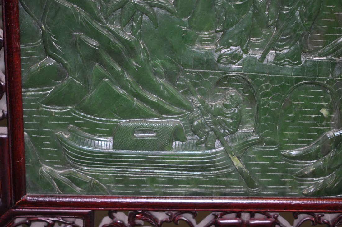 146: Chinese Pair of Extra-large Spinach Jade Floor Scr - 7