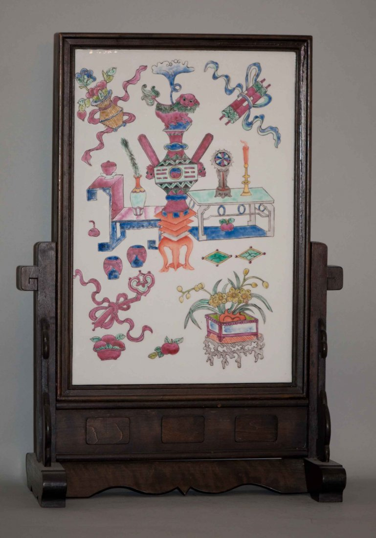 3: Chinese Famille Rose Framed Table Plaque