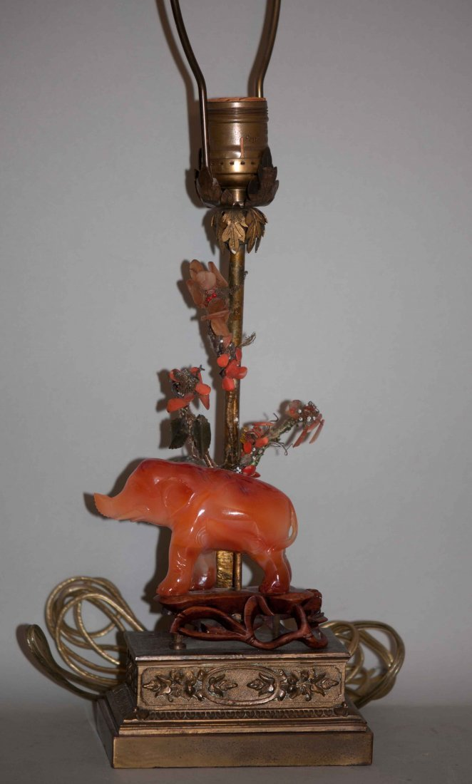 7: Chinese Agate Elephant Mounted in Lamp