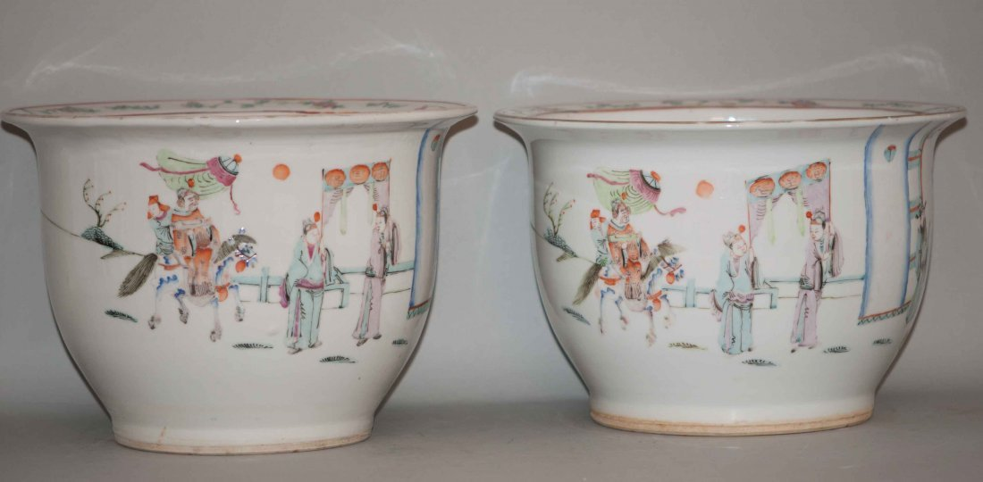 11: Chinese Pair of Famille Rose Planters