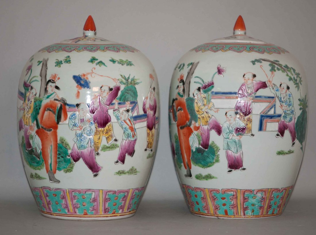 12: Chinese Pair of Famille Rose Melon Jars